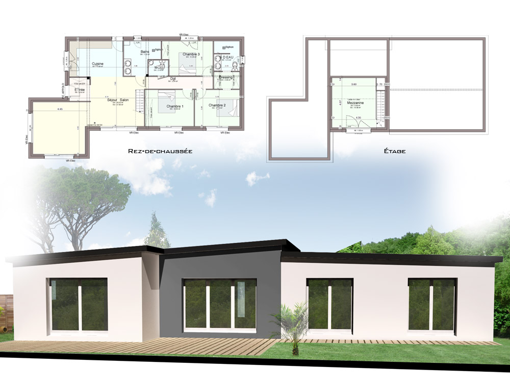 Plan maison fonctionnelle plain pied pf12 jornalagora for Petite maison plain pied